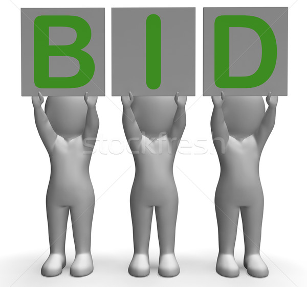 Bid Banners Shows Auction Bidder And Auctioning Stock photo © stuartmiles