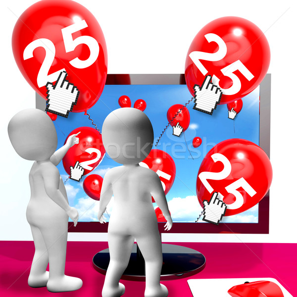 Number 25 Balloons from Monitor Show Internet Invitation or Cele Stock photo © stuartmiles