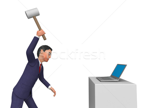 Businessman Angry Indicates Computing Internet And Keyboard Stock photo © stuartmiles