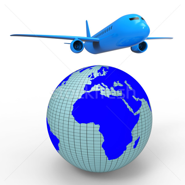 Worldwide Travel Shows Aeroplane Jet And Planet Stock photo © stuartmiles