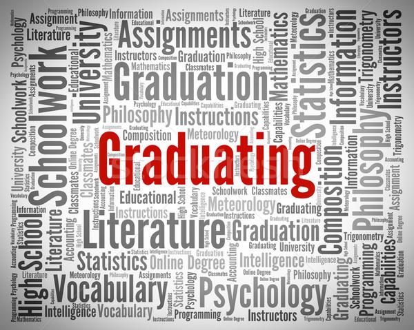 Graduating Word Shows Ceremony University And Graduates Stock photo © stuartmiles