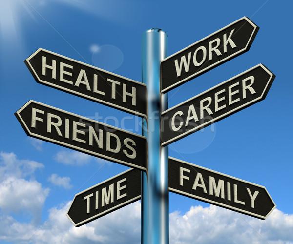 Сток-фото: здоровья · работу · карьеру · друзей · указатель