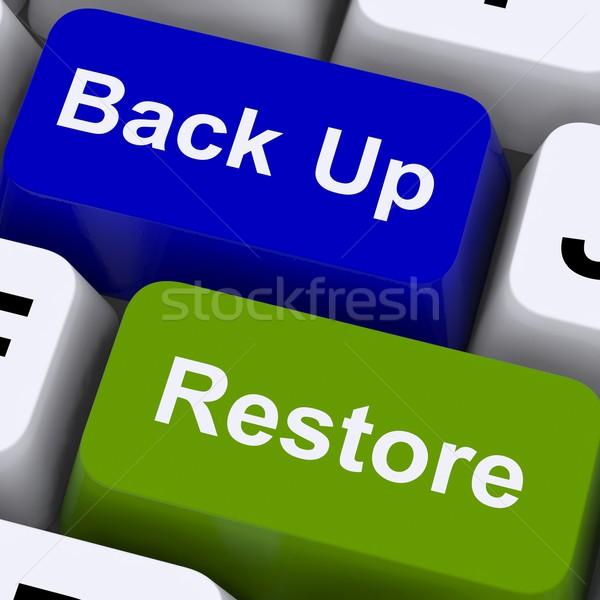 De volta para cima teclas segurança de dados computador Foto stock © stuartmiles
