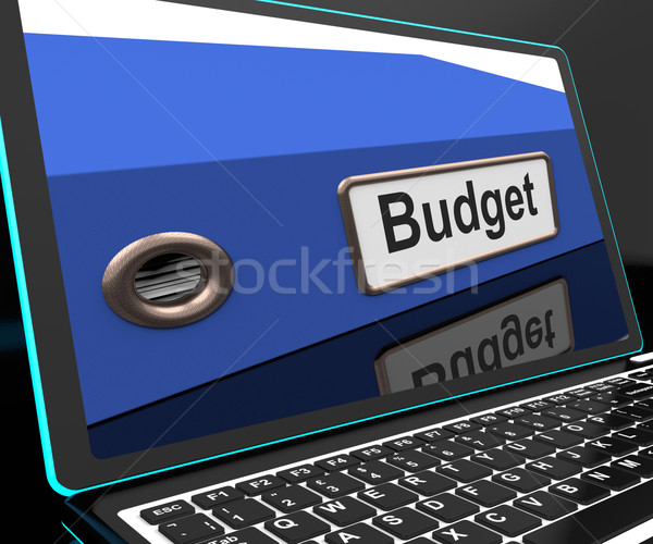 Budget File On Laptop Showing Financial Report Stock photo © stuartmiles