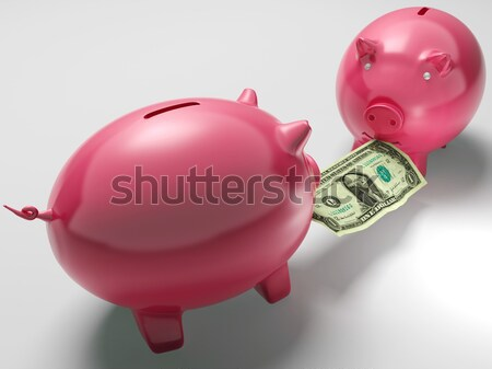 Piggybanks Fighting Over Money Showing Savings Stock photo © stuartmiles