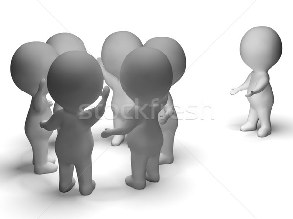 Stock photo: Excluded From Group 3d Character Shows Bullying