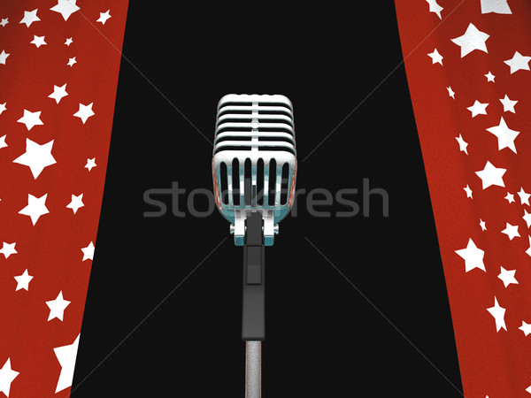 Microphone And Curtains Shows Concerts Or Talent Competition Stock photo © stuartmiles