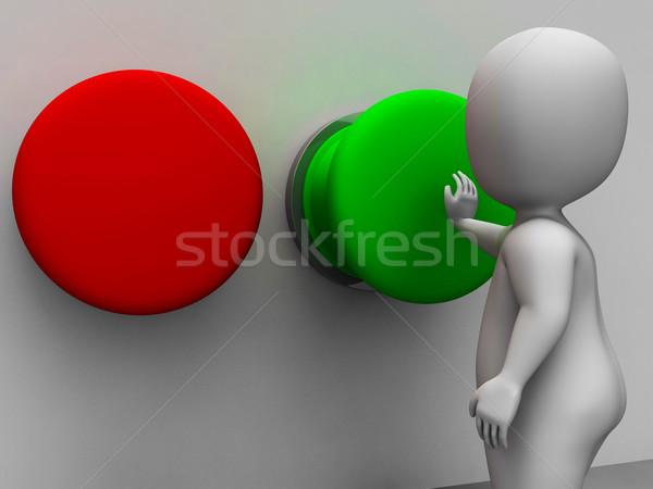Pushing Green Button Showing Starting Stock photo © stuartmiles
