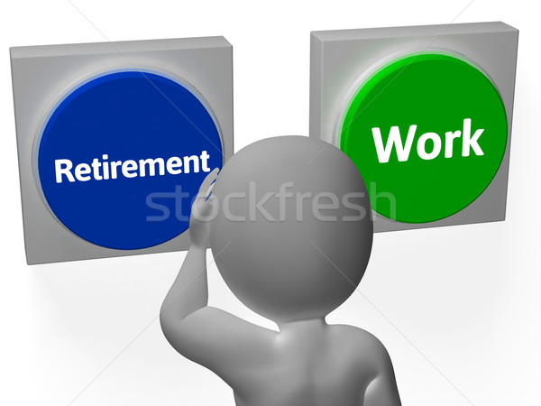 Stock photo: Retirement Work Buttons Show Pensioner Or Employment