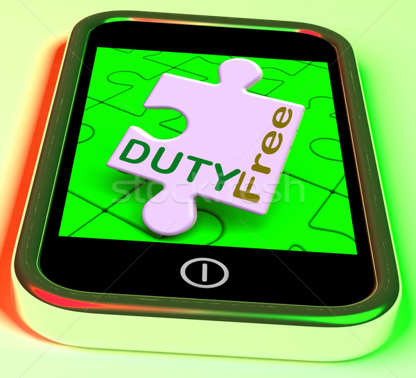 Duty Free On Smartphone Shows Tax Free Purchasing Stock photo © stuartmiles