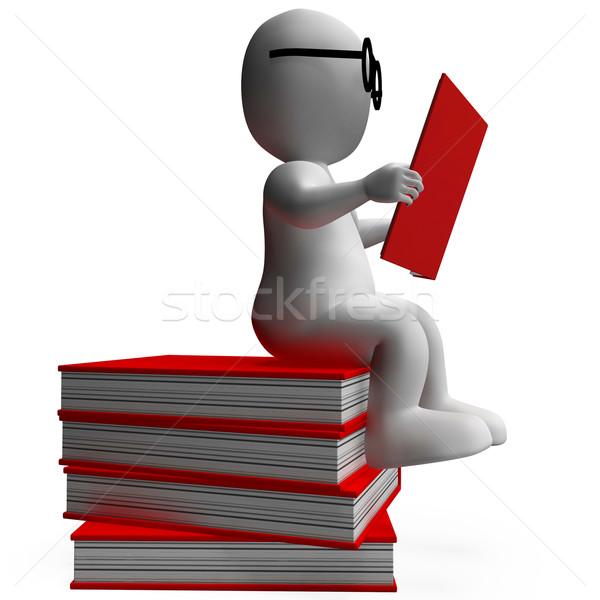 Student Reading Books Shows Studious Stock photo © stuartmiles