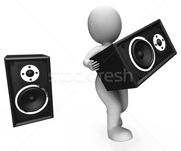 Loud Speakers Character Shows Music Disco Or Party Stock photo © stuartmiles