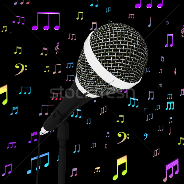 Microphone Closeup With Music Notes Shows Songs Or Hits Stock photo © stuartmiles