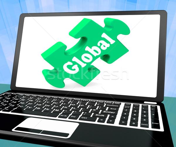 Globális laptop világszerte nemzetközi globalizáció mutat Stock fotó © stuartmiles