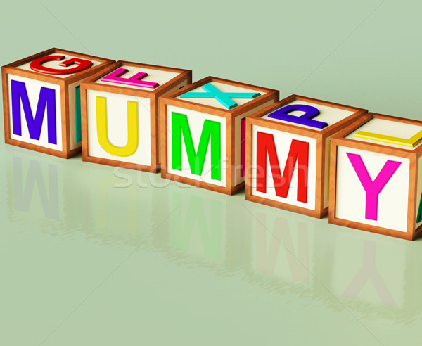 Mummy Blocks Mean Mum Parenthood And Children Stock photo © stuartmiles