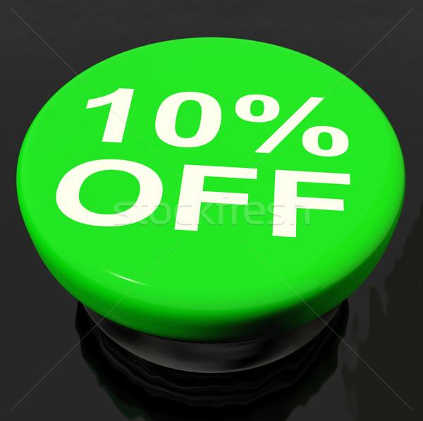 Ten Percent Button Shows Sale Discount Or 10 Off Stock photo © stuartmiles