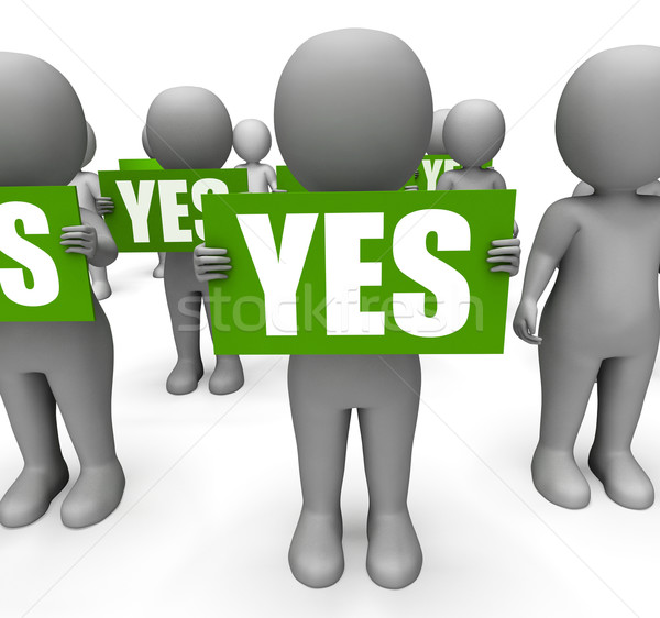 Characters Holding Yes Signs Mean Agreement And Confirmation Stock photo © stuartmiles