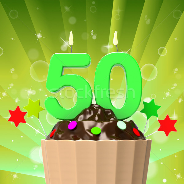 Fifty Candle On Cupcake Shows Fiftieth Anniversary Or Remembranc Stock photo © stuartmiles