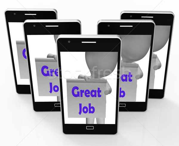 Great Job Phone Means Well Done And Praise Stock photo © stuartmiles