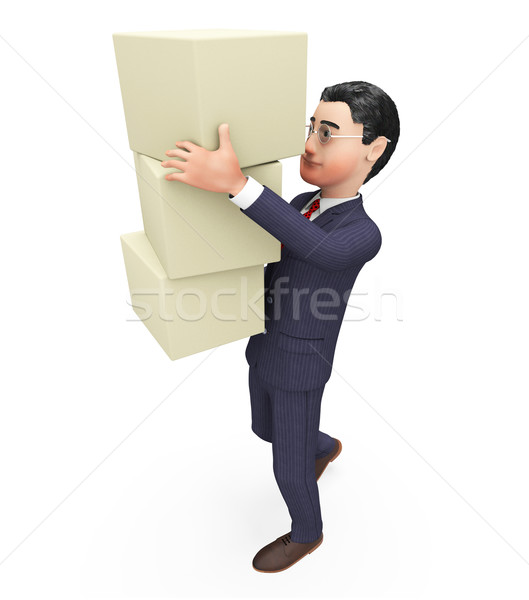 Businessman Carrying Boxes Means Commerce Case And Container Stock photo © stuartmiles