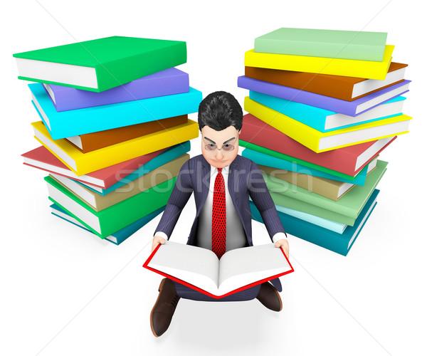 Businessman Reading Books Shows Corporate University And Assistance Stock photo © stuartmiles