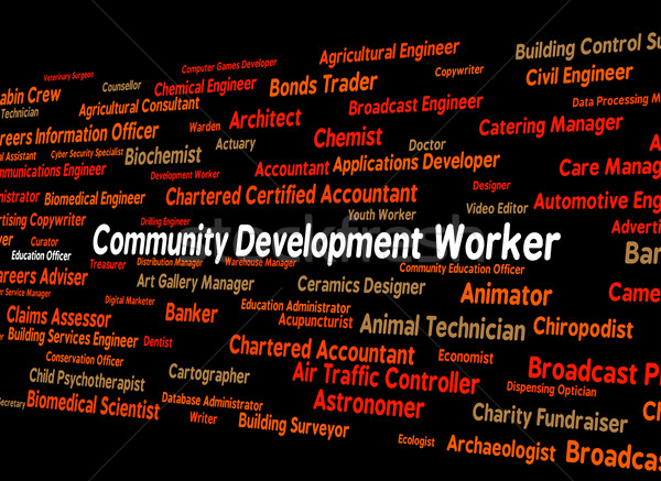 Community Development Worker Shows White Collar And Advance Stock photo © stuartmiles