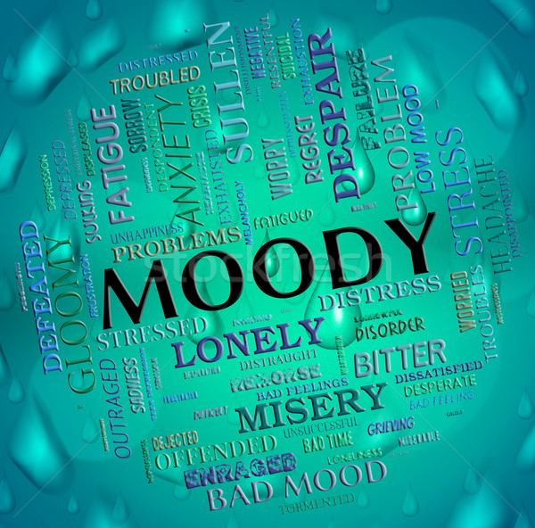 Moody Word Means Wordcloud Moping And Flighty Stock photo © stuartmiles