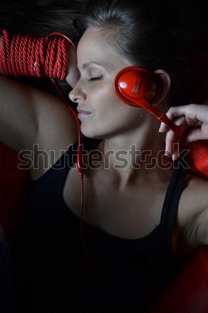 美しい 若い女性 赤 ヘッドホン 女性 楽しい ストックフォト © studio1901