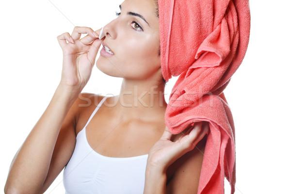 Cilt bakımı güzel genç kadın yalıtılmış beyaz model Stok fotoğraf © studio1901