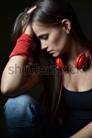 美しい 若い女性 赤 ヘッドホン 音楽 ストックフォト © studio1901