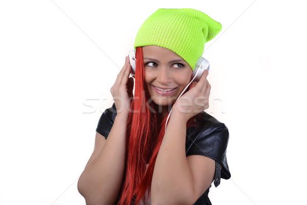 美しい 若い女性 ヘッドホン 女性 楽しい ストックフォト © studio1901