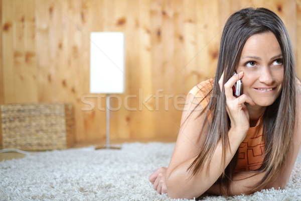 若い女性 話し 携帯電話 ルーム 電話 幸せ ストックフォト © studio1901
