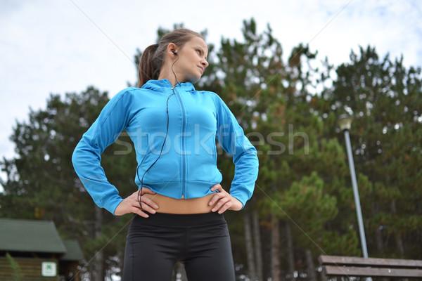若い女性 行使 美しい 健康 行使 エネルギー ストックフォト © studio1901