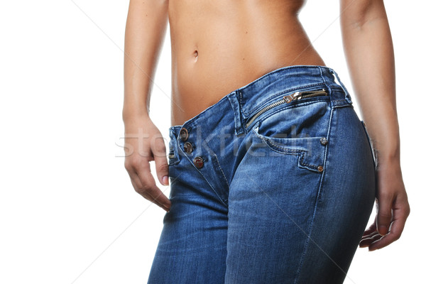 close-up shot of female wearing jeans Stock photo © studio1901