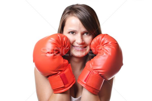 美人 ボクシング 美しい 笑顔の女性 赤 ボクシンググローブ ストックフォト © studio1901
