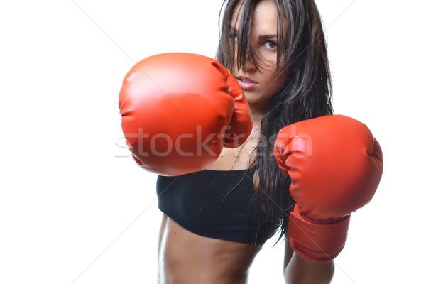 美人 ボクシング 赤 ボクシンググローブ 孤立した 白 ストックフォト © studio1901