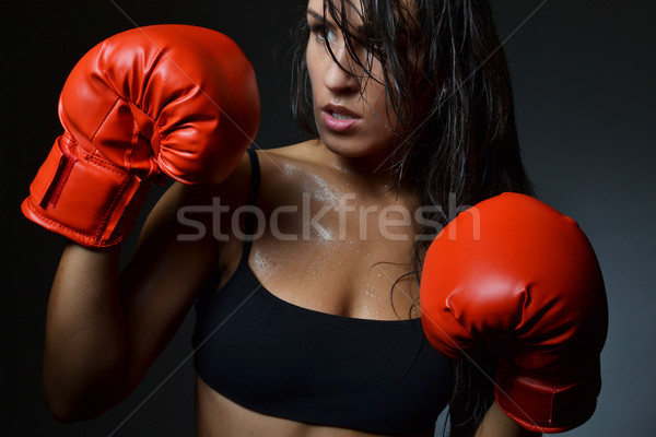 美人 ボクシング 赤 ボクシンググローブ 孤立した 黒 ストックフォト © studio1901