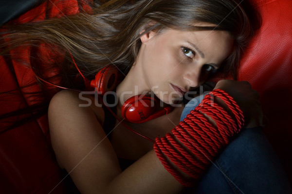 美しい 若い女性 ヘッドホン 赤 小さな サウンド ストックフォト © studio1901