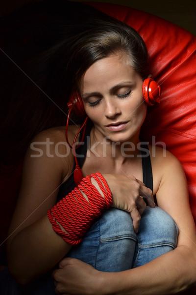 美しい 若い女性 赤 ヘッドホン 女性 ストックフォト © studio1901