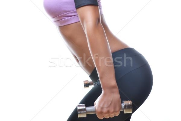 Güzel fitness woman dambıl yalıtılmış beyaz Stok fotoğraf © studio1901
