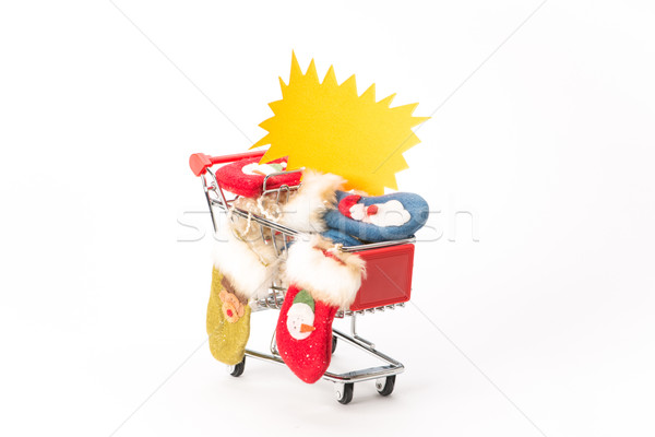 Caddy for shopping with christmas socks Stock photo © Studio_3321