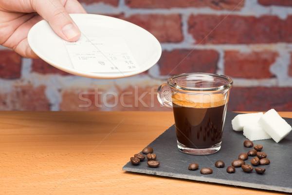 カップ コーヒー 法案 レンガの壁 手 男 ストックフォト © Studio_3321