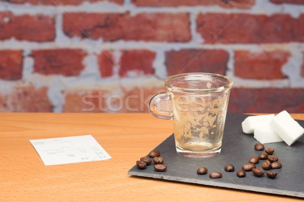 Tasse café Bill mur de briques café trésorerie Photo stock © Studio_3321