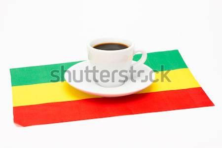 Stockfoto: Beker · koffie · vlag · witte · voedsel · drinken