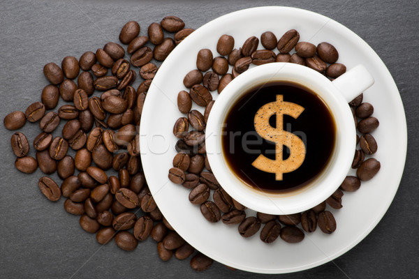 カップ コーヒー ドル 豆 お金 食品 ストックフォト © Studio_3321