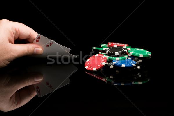 ポーカー カード 手 黒 カジノ 色 ストックフォト © Studio_3321