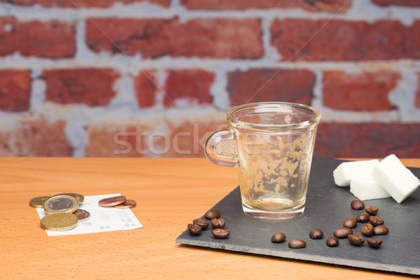 カップ コーヒー 法案 レンガの壁 カフェ 現金 ストックフォト © Studio_3321