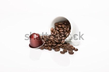 Kapszula fehér tükröződés kávé ital csésze Stock fotó © Studio_3321