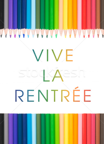 Colored pencil with French text : Welcome to another year Stock photo © Studio_3321