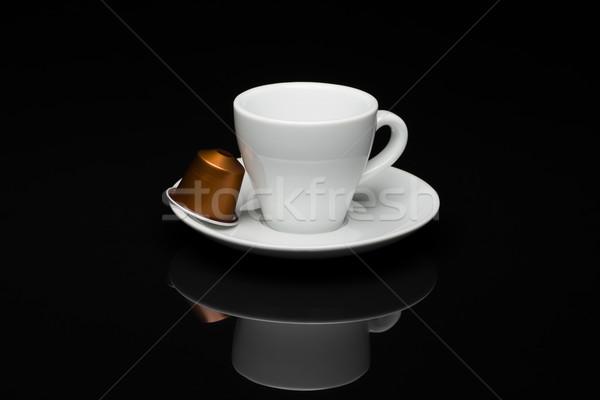 ストックフォト: カップ · コーヒー · カプセル · 黒 · 反射 · ドリンク